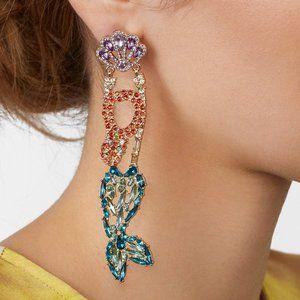 NWOT BaubleBar crystal mermaid drop earrings